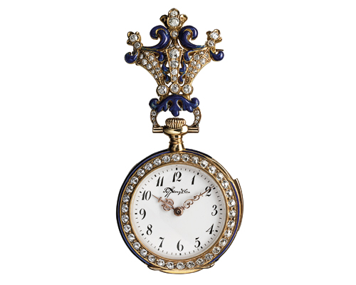 A round watch-brooch made by the Manufacture in 1894, but marketed by Tiffany. The sinuous lines of the brooch is reminiscent of the Art Nouveau movement during the period, decorated with blue enamel, gold, and diamonds. The watch is a minute repeater.