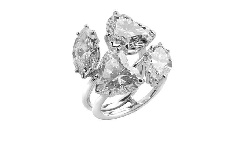 Ring with marquise and heart-shaped diamonds in prong setting, GEMS PAVILION