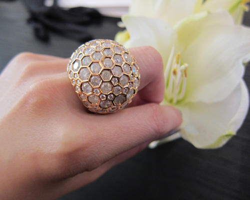Boule ring in yellow gold with icy diamonds, DE GRISOGONO