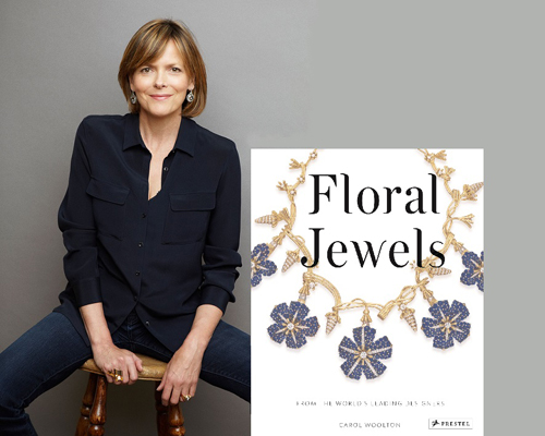 The author, Carol Woolton (image courtesy of Neil Gavin); Floral Jewels book cover