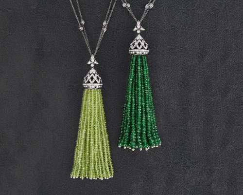 18k peridot tassel pendants(left) and 18k green garnet diamond tassels (right), both by CONTINENTAL DIAMOND