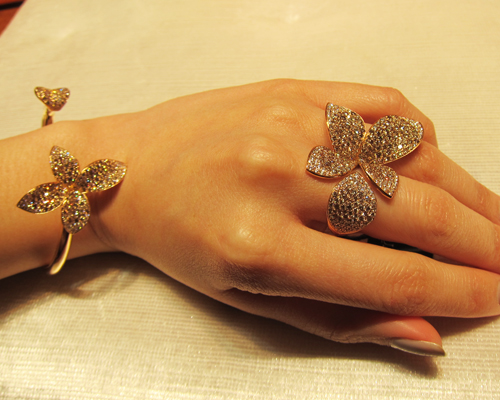Bracelet and ring in rose gold with diamonds from the Secret Garden collection, PASQUALE BRUNI