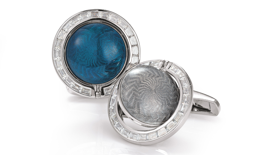 Two In One cufflinks with baguette-cut diamonds in channel setting, VICTOR MAYER