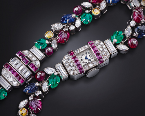 The 1927 Tutti Frutti Haute Joaillerie watch. A unique piece made in partnership with Parisian jeweller Equivillon Lafon & Cie, featuring hand-carved, multi-coloured gemstones, and the smallest movement the Manufacture had ever produced.