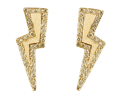 Diamond Bolt earrings on yellow gold