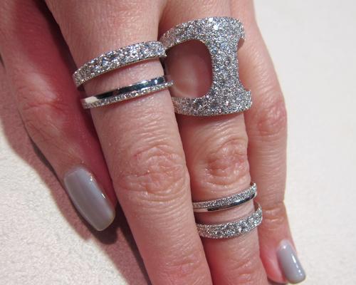 Syracusa rings in full pave diamonds, ANTONINI