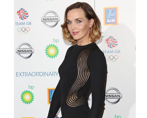Victoria Pendleton wearing Hoop earrings