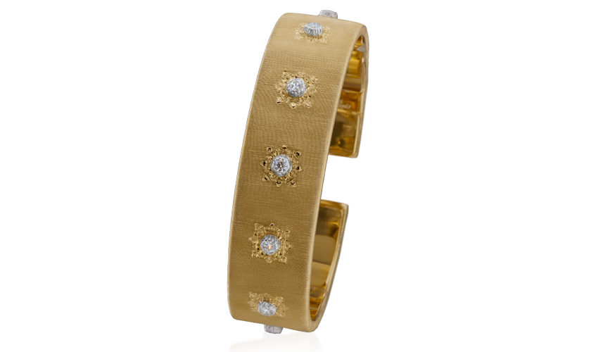 Bangle from Classica collection with diamonds in flush setting, BUCCELATI