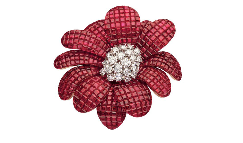 18k white gold, invisible set rubies and diamonds flower pendant/brooch, VAN CLEEF & ARPELS