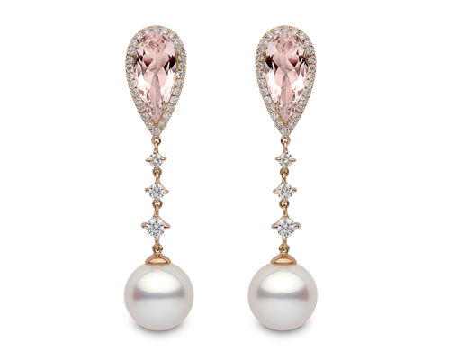 Drop earrings with morganite, white and greyish pearls, YOKO LONDON