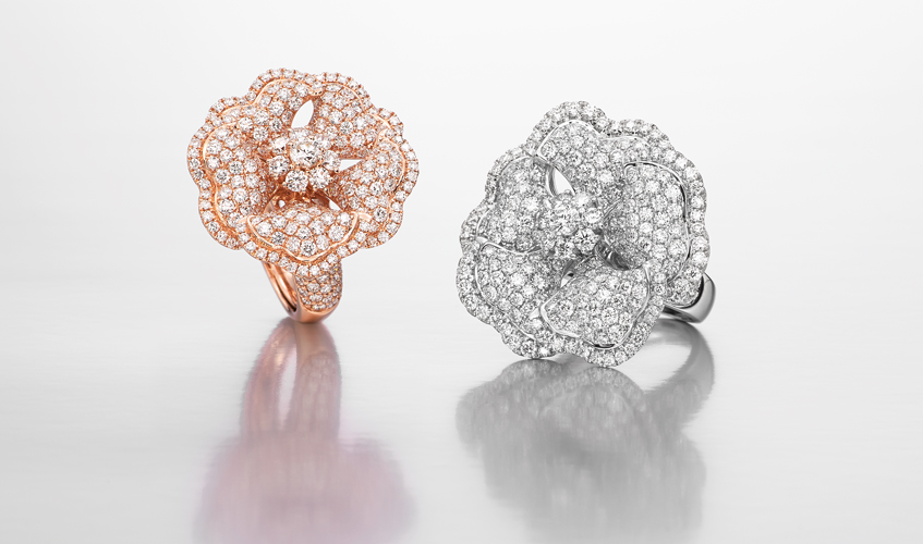 Bloom rings with diamonds in pavé and cluster settings, BUTANI