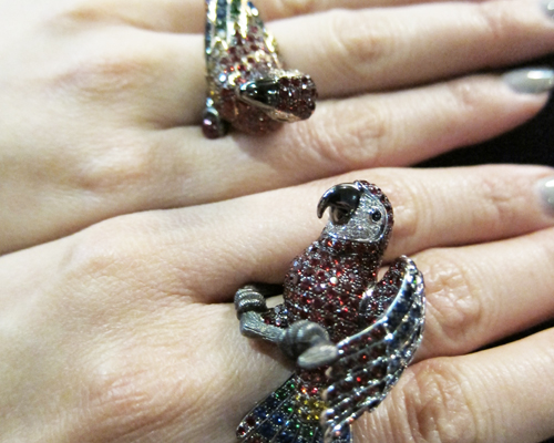 Animalia parrot rings with rubies, sapphires, garnets, diamonds, ROBERTO COIN