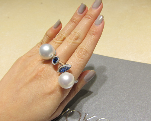 Contemporary diamond and pearl rings with sapphires, YOKO LONDON