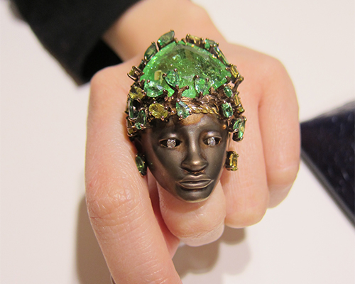 Flower Man ring with green tourmaline from the Queen of Sheba collection, LYDIA COURTEILLE