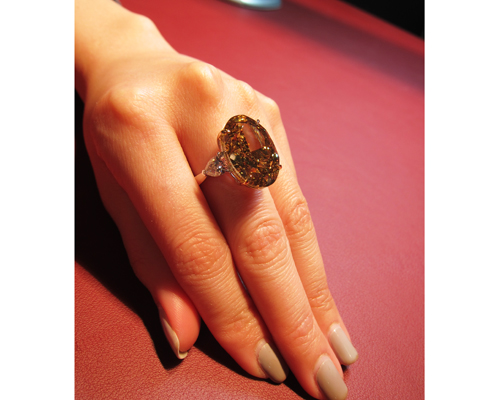 6ct champagne diamond ring, HANS D. KRIEGER