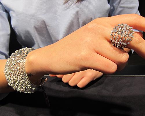 Diamond bracelet and ring from the Oceano collection, STEFAN HAFNER