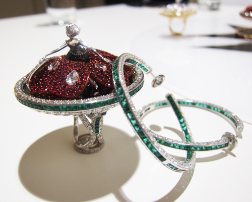 Poppy ring and matching earrings with rubies, diamonds, and emeralds, SYBARITE