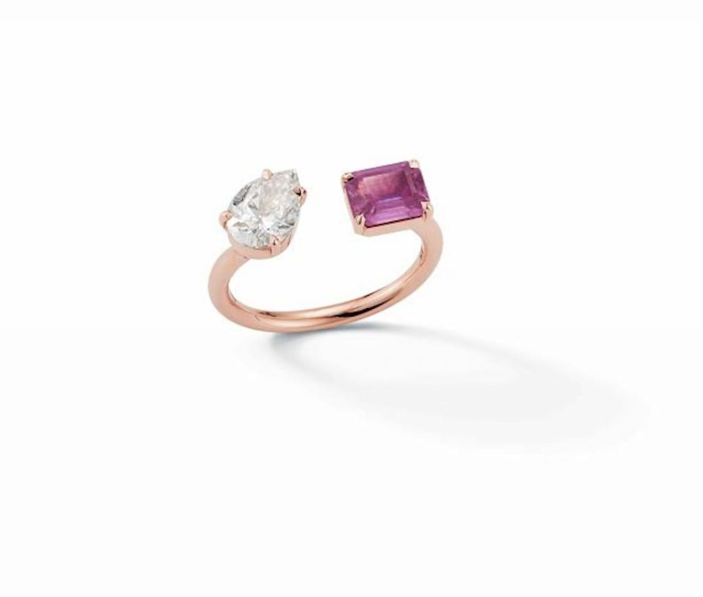 Open-ring-with-diamond-and-pink-sapphire-JEMMA-WYNNE