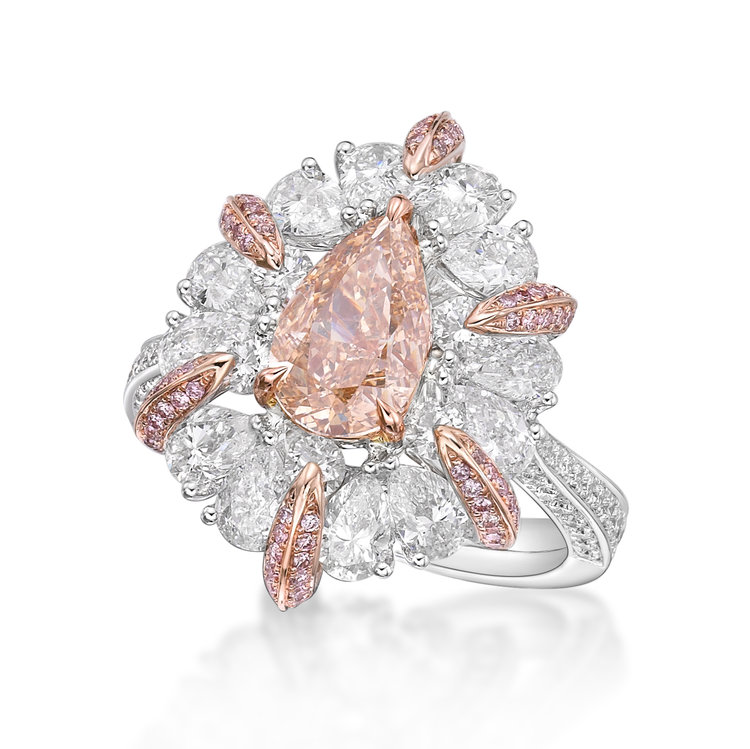 Fancy pink diamond ring, luxury jewellery