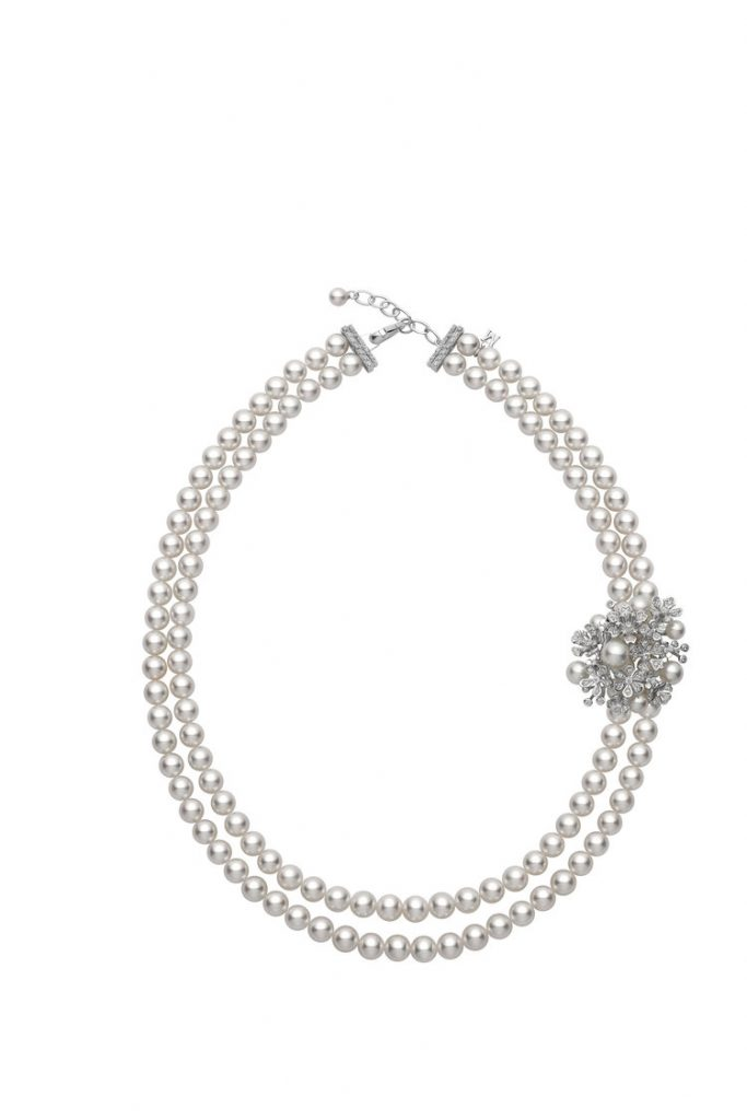Mikimoto diamond and gold necklace