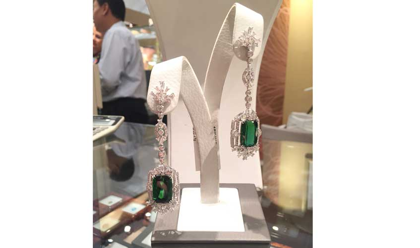 22ct tourmaline earrings, CARATELL