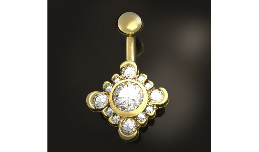 Belly bar with diamonds on yellow gold from BMG jewellery