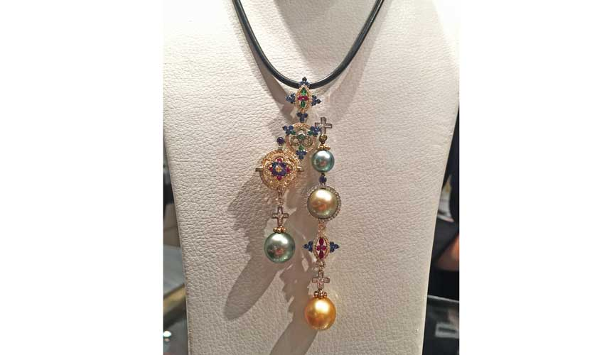 Necklace with coloured gemstones and pearls, CARATELL