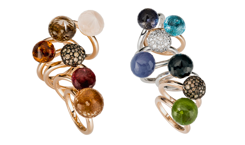 A selection of stackable rings from the Cupola collection embellished with tourmalines, topax, peridot, aquamarines and more
