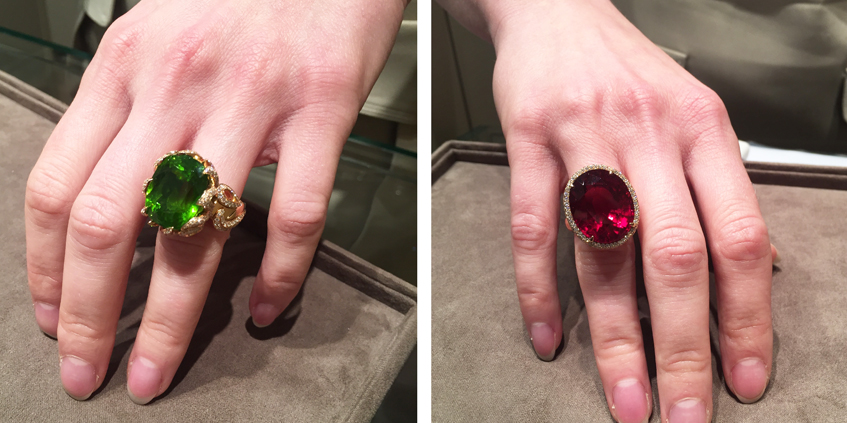 From L to R: Peridot ring and Ruby ring, both from HANS D. KRIEGER