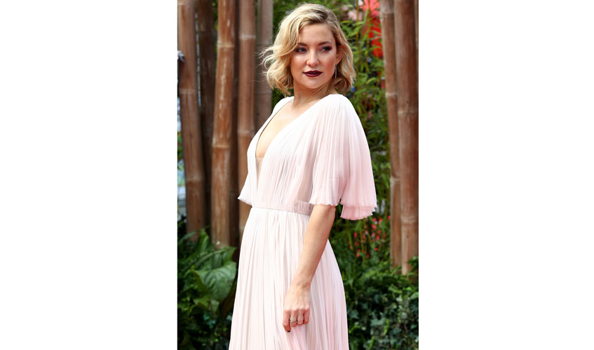 Kate Hudson at the Kung Fu Pands 3 Premiere in London wearing a J. Mendel flowy gown; Image courtesy of Rex Features