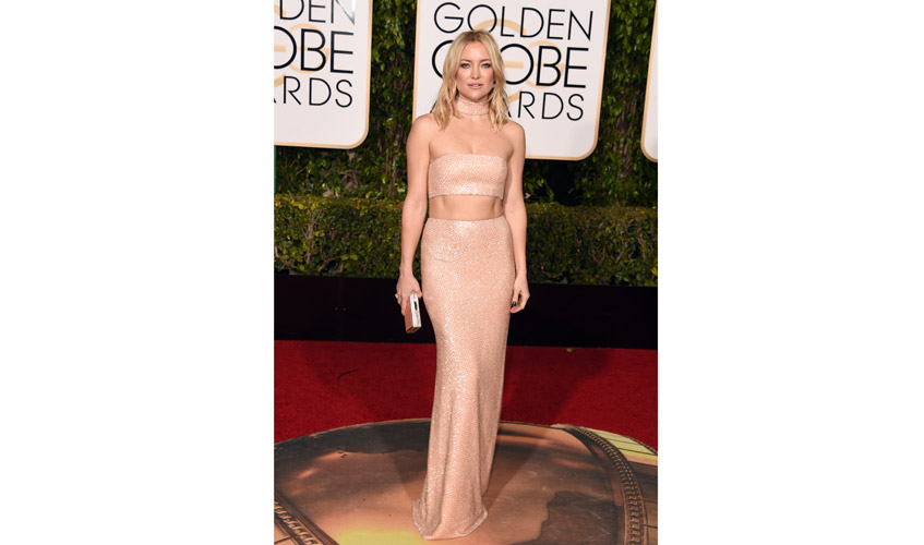 Kate Hudson at the 2016 Golden Globes wearings a two-piece dress by Michael Kors collection and Forevermark jewellery; Image courtesy of FOREVERMARK