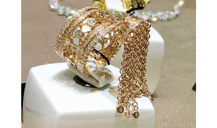 Diamond tassel ring in rose gold, ZYDO