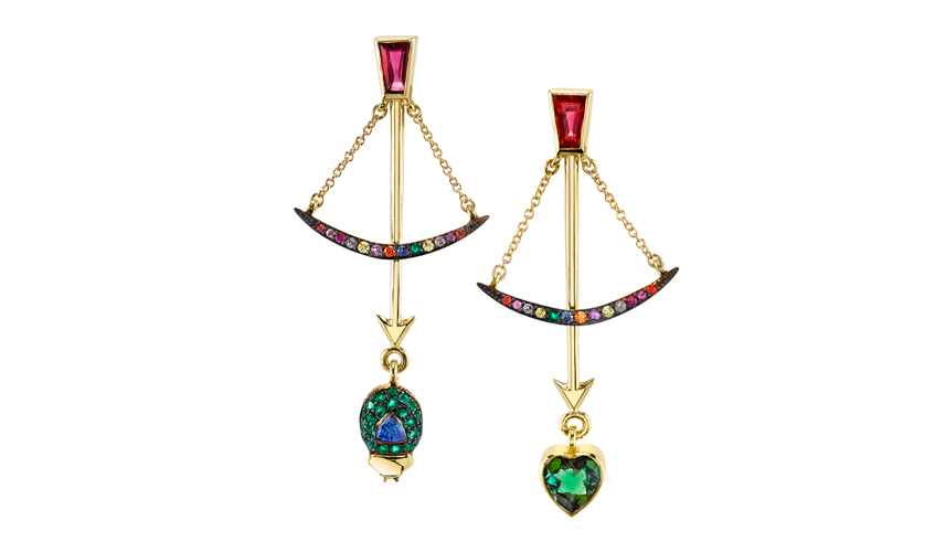 Bow earrings with tourmalines, emeralds and multicolourd sapphires from the Backyard collection