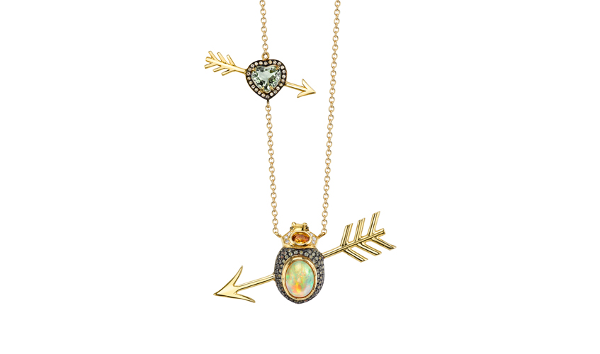 Amour necklace with 2.24ct opal, white diamonds, pridots, yellow sapphires and tourmalines