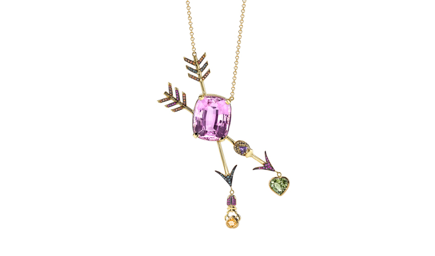 Unconditional Love neacklace featuring a 27..2ct kunzite with garnets and multicoloured sapphires from the Backyard collection