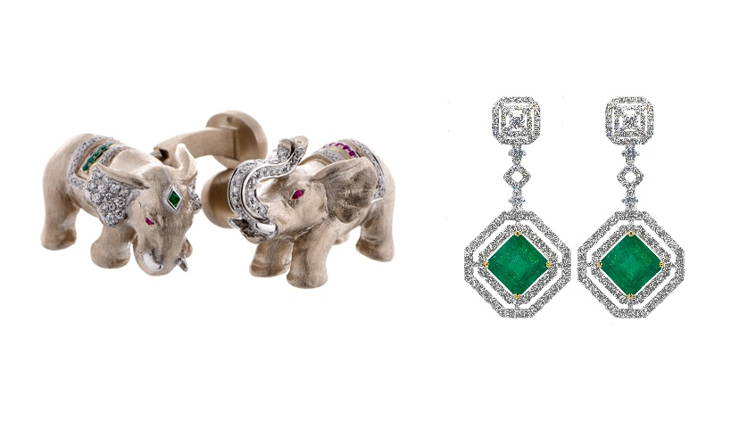 From L to R: Elephant cufflinks with rubies, emeralds and diamonds on 18k white gold from the Elephant collection; Emerald earrings with sparkling diamonds