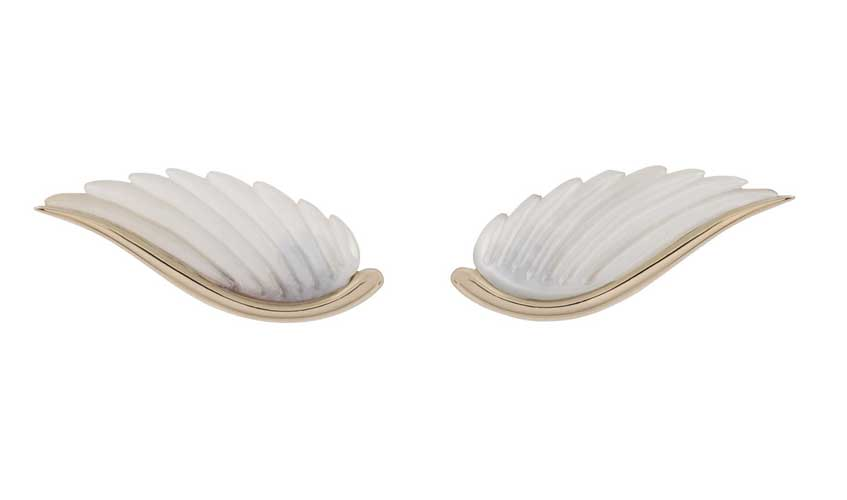 Wing ear pieces crafted in 18K grey gold with white mother of pearl, Fly Me To The Moon collection