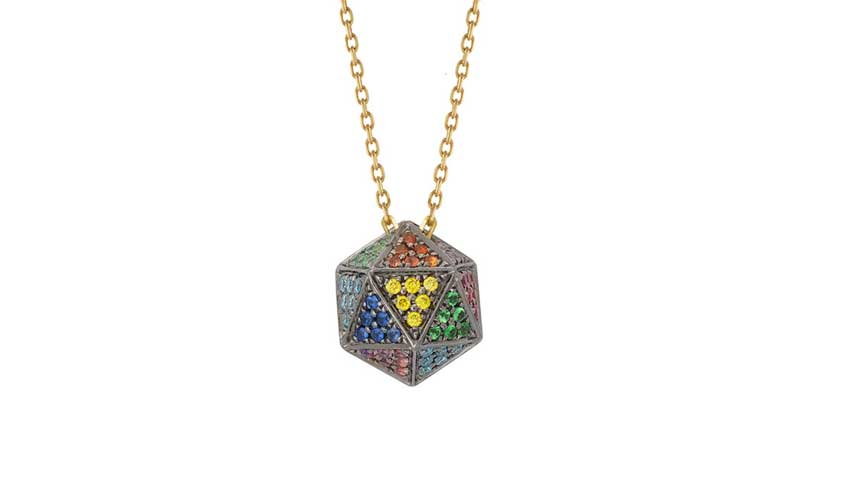Solid icosagon pendant crafted in 18k black gold set with various coloured stones and finished with black rhodium on a 75cm 18k yellow gold chain, from Rainbow collection