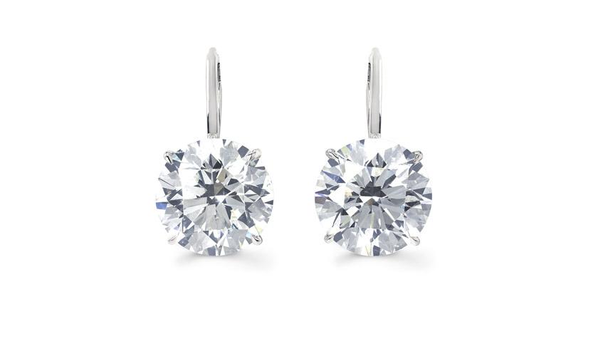 Round Brilliant Diamond Drop Earrings in platinum featuring 20ct diamonds, FOREVERMARK