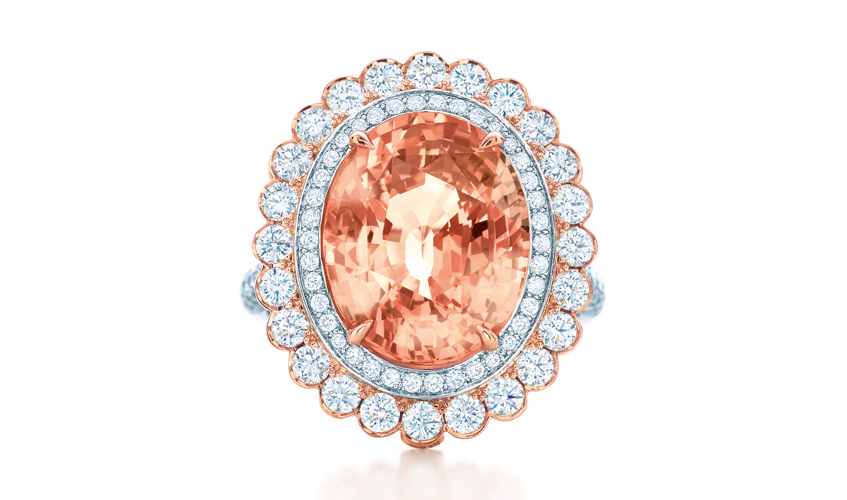 Padparadscha sapphire and diamond ring, TIFFANY & CO.