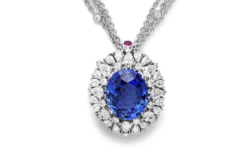 6.00ct oval sapphire necklace, GÜBELIN