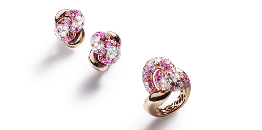 Tango collection with pink and orange sapphires, POMELLATO