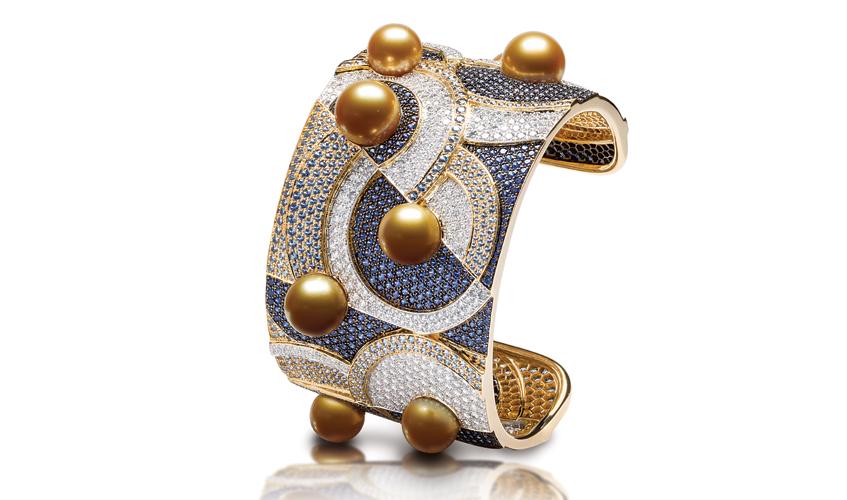 C'est La Vie cuff with pearls, diamonds and blue sapphires, JEWELMER