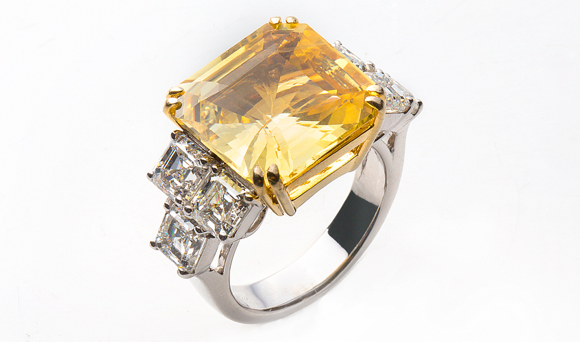 Yellow sapphire ring with diamonds, YULI