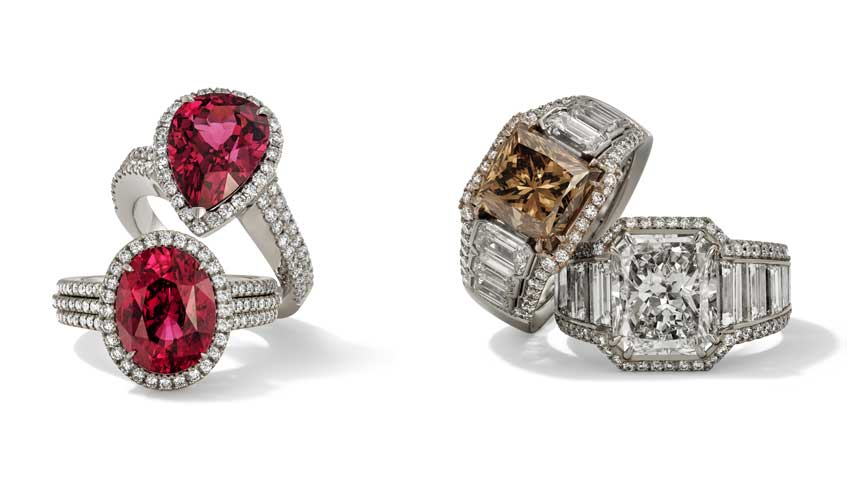 From L to R: Rings with red spinels on 18k white gold; Ring with fancy yellow-brown diamond, emerald cut diamonds on platinum 950 and 18k rose gold; Ring with emerald cut diamond and baguette cut diamonds on 18k white gold