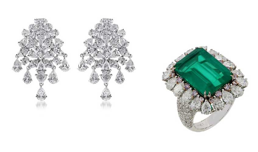 From L to R: Cluster diamond earrings with 2ct heart shaped diamond center stone set in 18K Gold; Fine Zambian emerald ring with inlay in pink diamonds in 18K Gold