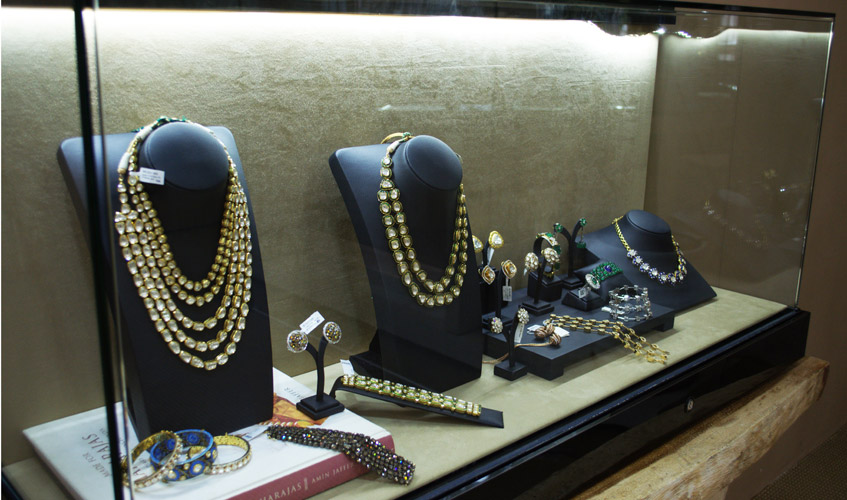 Exquisite jewellery pieces curated and displayed in the boutique