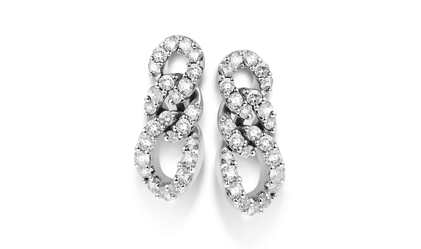 Gourmette earrings in white gold and white diamonds, part of Verdi's Anniversary collection